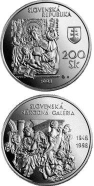 Image of 200 crowns coin - The 50th Anniversary of the Establishment of the Slovak National Gallery | Slovakia 1998.  The Silver coin is of Proof, BU quality.