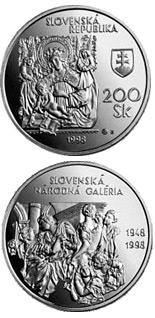 200 crowns The 50th Anniversary of the Establishment of the Slovak National Gallery - 1998 - Series: Silver 200 crown coins - Slovakia