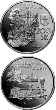 Image of 200 crowns coin - The 150th anniversary of the arrival of the first steam train in Slovakia | Slovakia 1998.  The Silver coin is of Proof, BU quality.