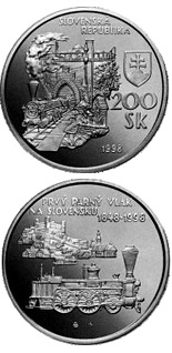 200 crowns coin The 150th anniversary of the arrival of the first steam train in Slovakia | Slovakia 1998