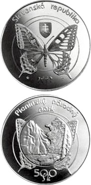 Image of 500 crowns coin – The Pieniny National Park | Slovakia 1997.  The Silver coin is of Proof, BU quality.