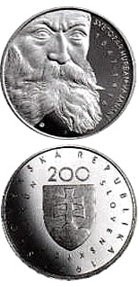 200 crowns The 150th anniversary of the birth of Svetozar Hurban Vajansky - 1997 - Series: Silver 200 crown coins - Slovakia