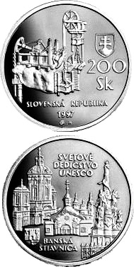 Image of a coin 200 crowns | Slovakia | The UNESCO World Heritage and Banska Stiavnica with its ancient mining works | 1997