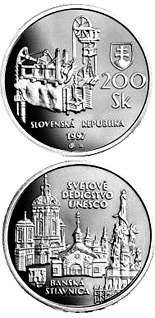 200 crowns coin The UNESCO World Heritage and Banska Stiavnica with its ancient mining works | Slovakia 1997