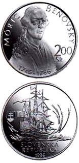 200 crowns The 250th anniversary of the birth of Moric Benovsky - 1996 - Series: Silver 200 crown coins - Slovakia