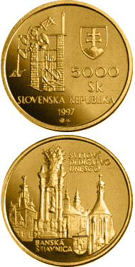 Image of 5000 crowns coin - The UNESCO World Heritage and Banska Stiavnica with its ancient mining works | Slovakia 1997.  The Gold coin is of Proof quality.