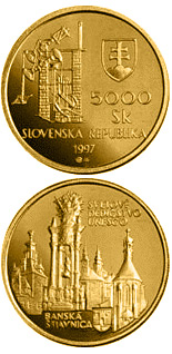 5000 crowns coin The UNESCO World Heritage and Banska Stiavnica with its ancient mining works | Slovakia 1997