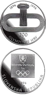 200 crowns coin The centenary of the first Olympic Games in modern times and the first participation of the Slovak Republic at the Summer Olympics | Slovakia 1996