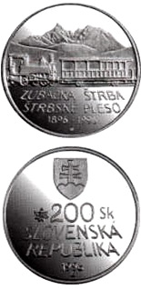 Image of a coin 200 crowns | Slovakia | The centenary of the opening of the rack railway from Strba to Strbske Pleso | 1996