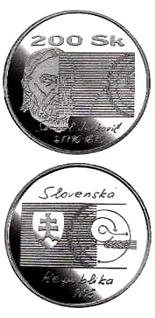 Image of 200 crowns coin - The 200th anniversary of the birth of Samuel Jurkovic | Slovakia 1996.  The Silver coin is of Proof, BU quality.