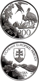 Image of a coin 200 crowns | Slovakia | The European Nature Conservation Year | 1995