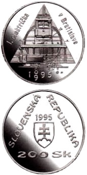 Image of 200 crowns coin - The centenary of the opening of the first tramway in Slovakia, in Bratislava | Slovakia 1995.  The Silver coin is of Proof, BU quality.