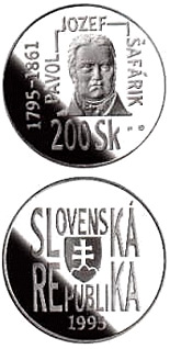 200 crowns The 200th anniversary of the birth of Pavol Jozef Safarik - 1995 - Series: Silver 200 crown coins - Slovakia