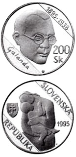 Image of a coin 200 crowns | Slovakia | The centenary of the birth of Mikulas Galanda | 1995