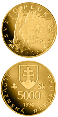Image of 5000 crowns coin - The 1,100th anniversary of the death of Svatopluk, Ruler of Great Moravia | Slovakia 1994.  The Gold coin is of Proof quality.