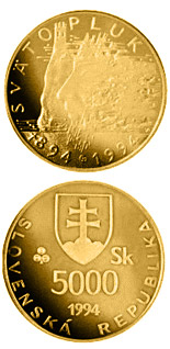 5000 crowns The 1,100th anniversary of the death of Svatopluk, Ruler of Great Moravia - 1994 - Series: Gold 5000 crown coins - Slovakia