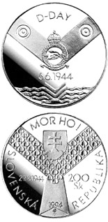 Image of 200 crowns coin - The 50th anniversary of the Allied invasion in Normandy and the 50th anniversary of the Slovak national uprising against Fascism | Slovakia 1994.  The Silver coin is of Proof, BU quality.