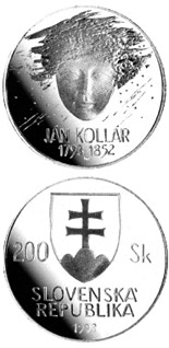 200 crowns The 200th anniversary of the birth of Jan Kollar - 1993 - Series: Silver 200 crown coins - Slovakia