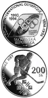 200 crowns The centenary of the establishment of the International Olympic Committee and the first participation of the Slovak Republic in the Olympic Games - 1994 - Series: Silver 200 crown coins - Slovakia