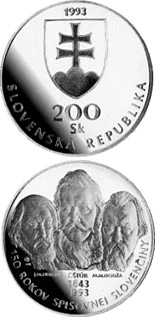 Image of The 150th anniversary of the codification of standard written Slovak language – 200 crowns coin Slovakia 1993.  The Silver coin is of Proof, BU quality.