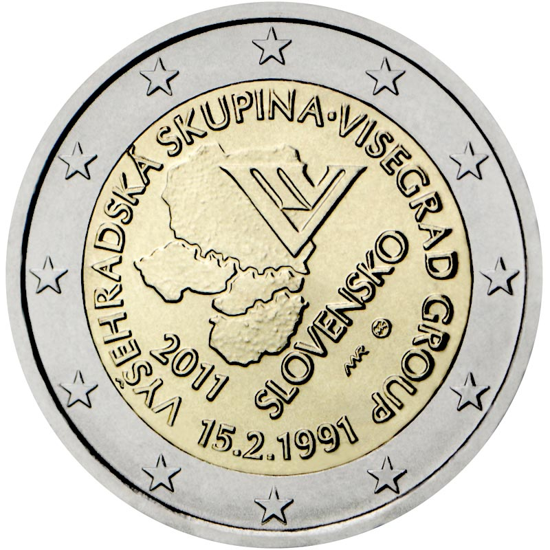 Image of 2 euro coin - 20th anniversary of the formation of the Visegrad Group  | Slovakia 2011