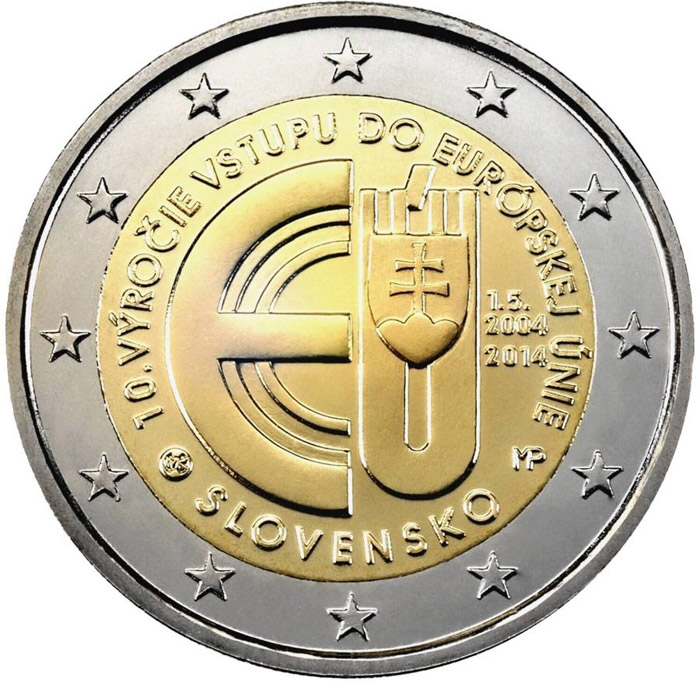 Image of 2 euro coin – 10 Years of Slovakian Membership in European Union | Slovakia 2014