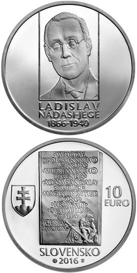 Image of 10 euro coin 150th anniversary of the birth of Ladislav Nádaši-Jégé | Slovakia 2016.  The Silver coin is of Proof, BU quality.