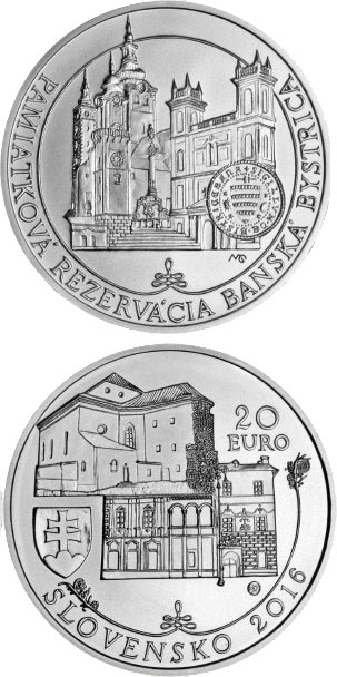 Image of 20 euro coin – Historical Preservation Area of Banská Bystrica | Slovakia 2016.  The Silver coin is of Proof, BU quality.