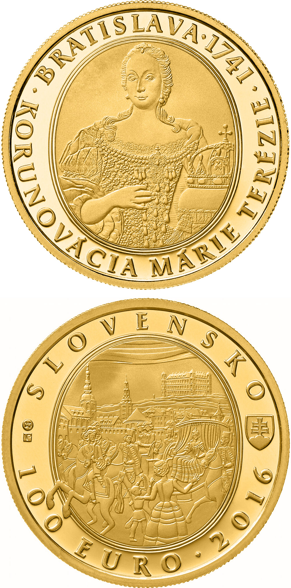 Image of Bratislava Coronations - 275th anniversary of the coronation of Maria Theresa – 100 euro coin Slovakia 2016.  The Gold coin is of Proof quality.