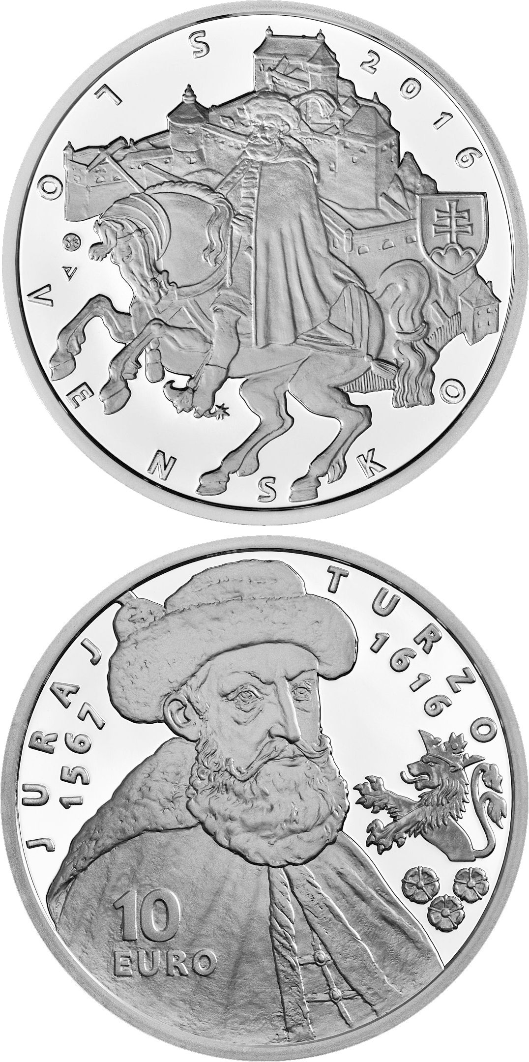 Image of 10 euro coin – 400th anniversary of the death of Juraj Turzo | Slovakia 2016.  The Silver coin is of Proof, BU quality.
