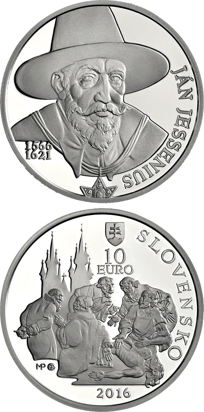 Image of 10 euro coin – 450th anniversary of the birth of Ján Jesenius | Slovakia 2016.  The Silver coin is of Proof, BU quality.