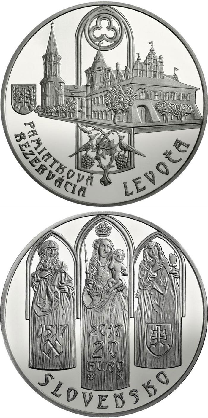 Image of 20 euro coin - Historical Preservation Area of Levoča and the 500th anniversary of the completion of the high altarpiece in St Jacob's Church | Slovakia 2017.  The Silver coin is of Proof, BU quality.