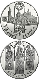 20 euro coin Historical Preservation Area of Levoča and the 500th anniversary of the completion of the high altarpiece in St Jacob's Church | Slovakia 2017