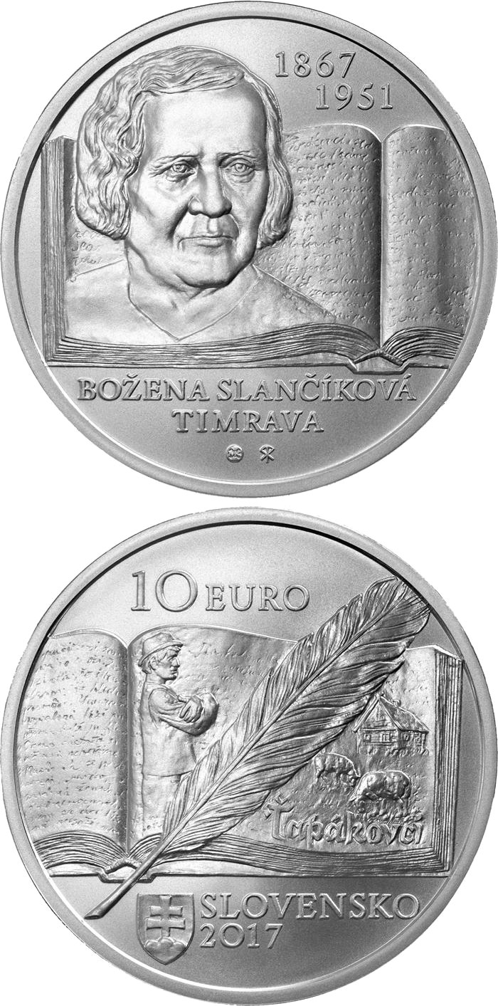 Image of 10 euro coin – 150th anniversary of the birth of Božena Slančíková-Timrava | Slovakia 2017.  The Silver coin is of Proof, BU quality.