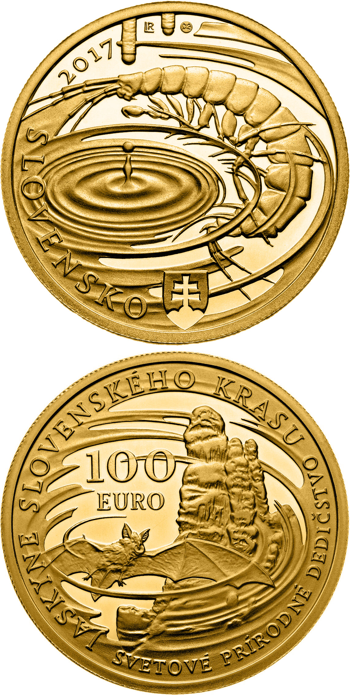 Image of a coin 100 euro | Slovakia | World Natural Heritage - Caves of Slovak Karst | 2017