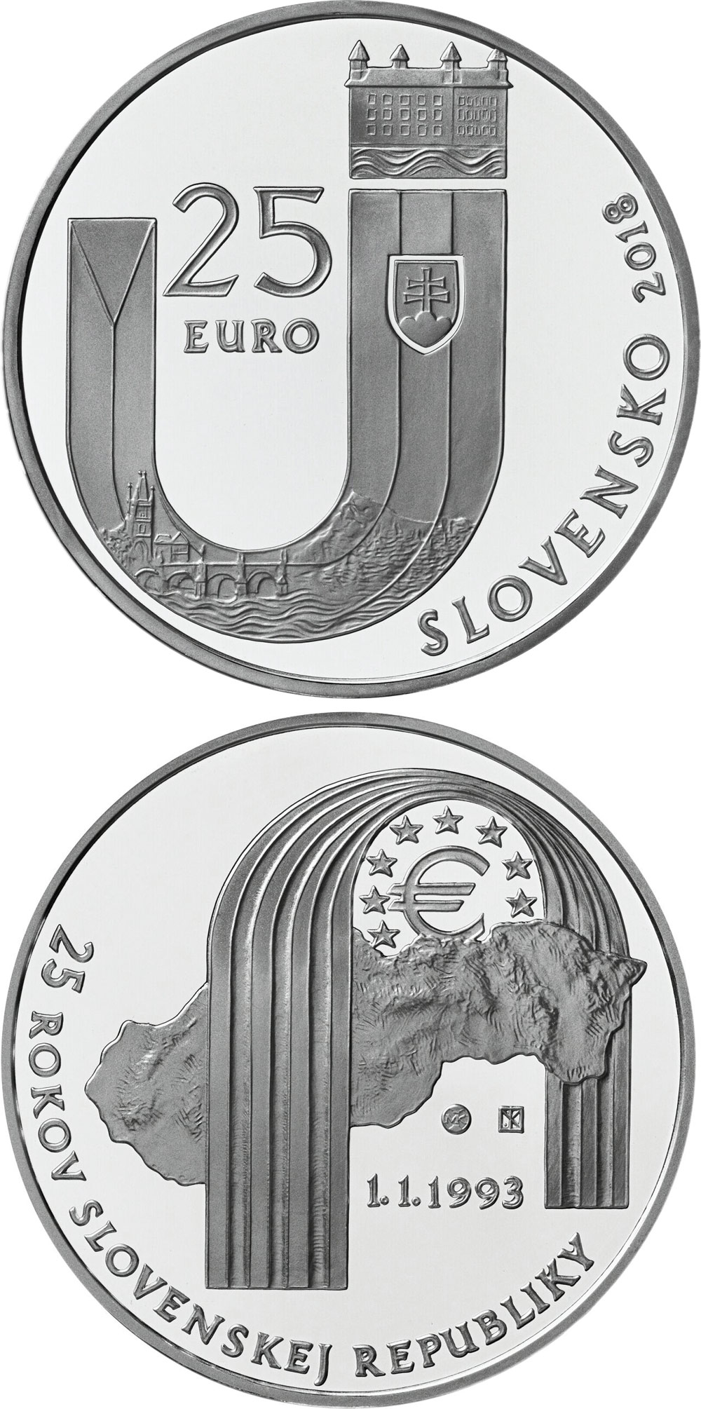 Image of a coin 25 euro | Slovakia | 25th anniversary of the establishment of the Slovak Republic | 2018