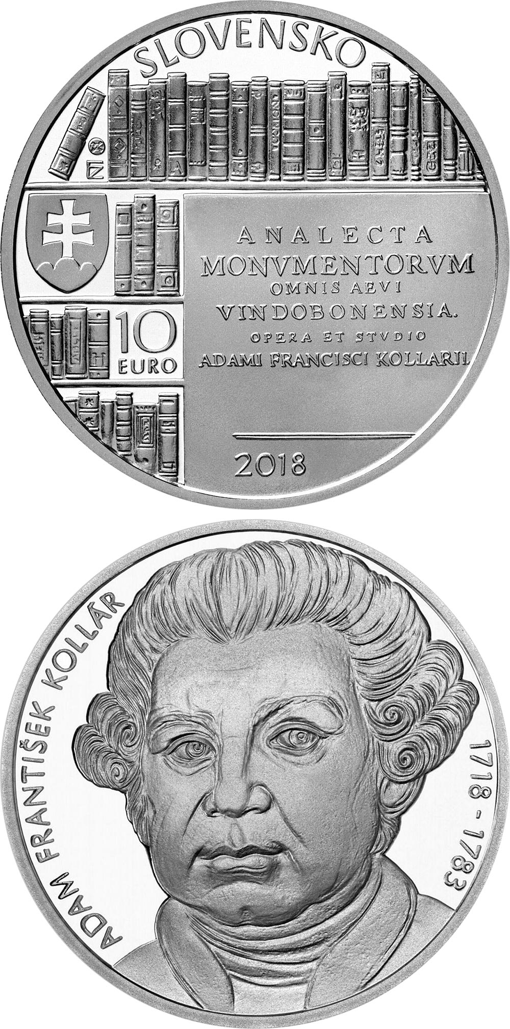 Image of 10 euro coin - 300th anniversary of the birth of Adam František Kollár | Slovakia 2018.  The Silver coin is of Proof, BU quality.