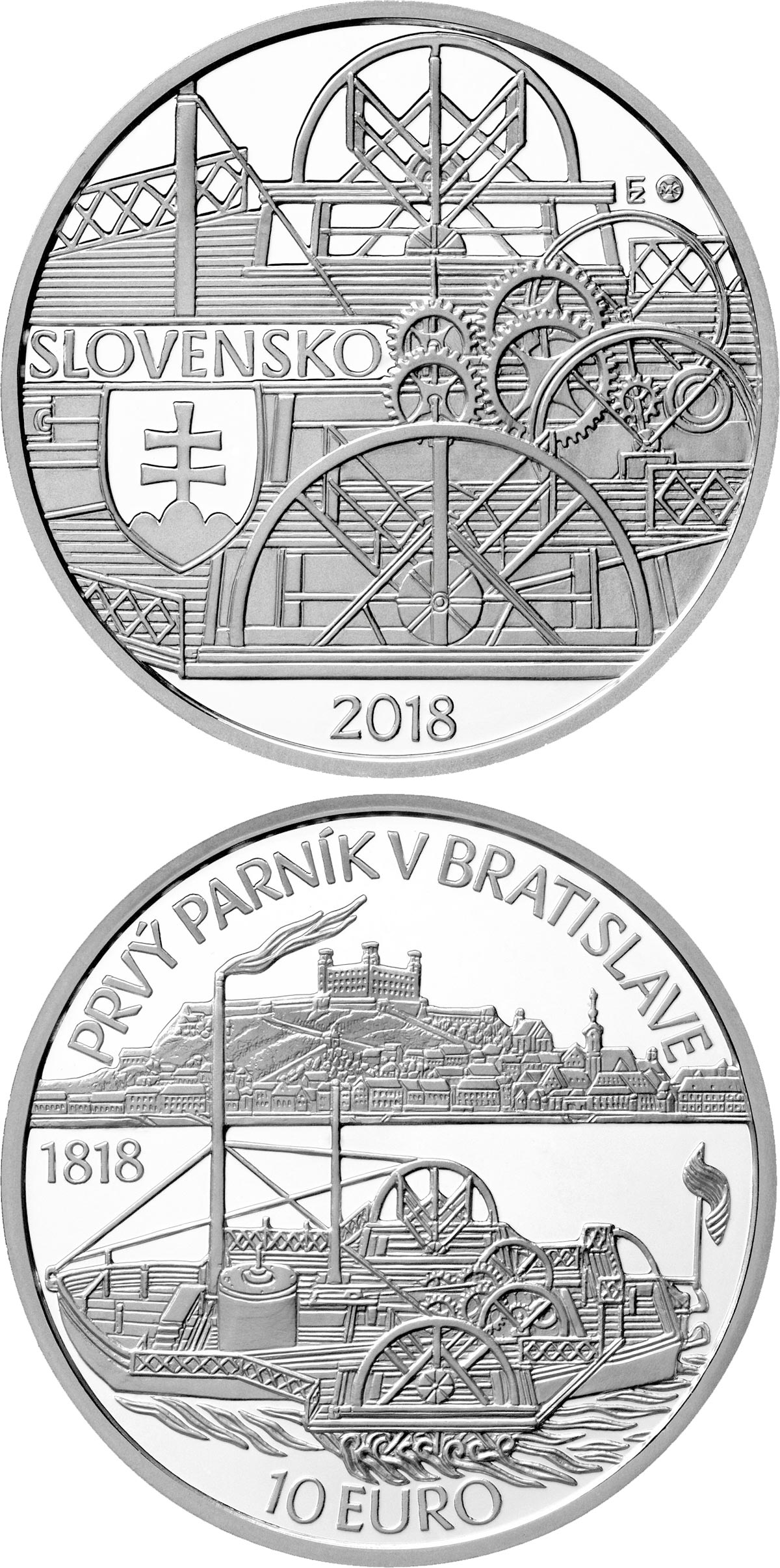 Image of 10 euro coin - Anniversary of the first sailing of a steamer on the Danube River in Bratislava | Slovakia 2018.  The Silver coin is of Proof, BU quality.