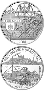 10 euro coin Anniversary of the first sailing of a steamer on the Danube River in Bratislava | Slovakia 2018