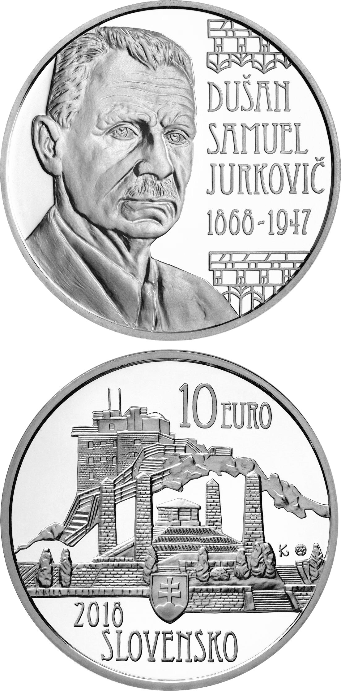 Image of 10 euro coin – 150th anniversary of the birth of Dušan Samuel Jurkovič | Slovakia 2018.  The Silver coin is of Proof, BU quality.
