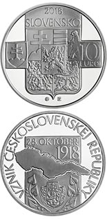 10 euro coin 100th anniversary of the establishment of the Czechoslovak Republic | Slovakia 2018