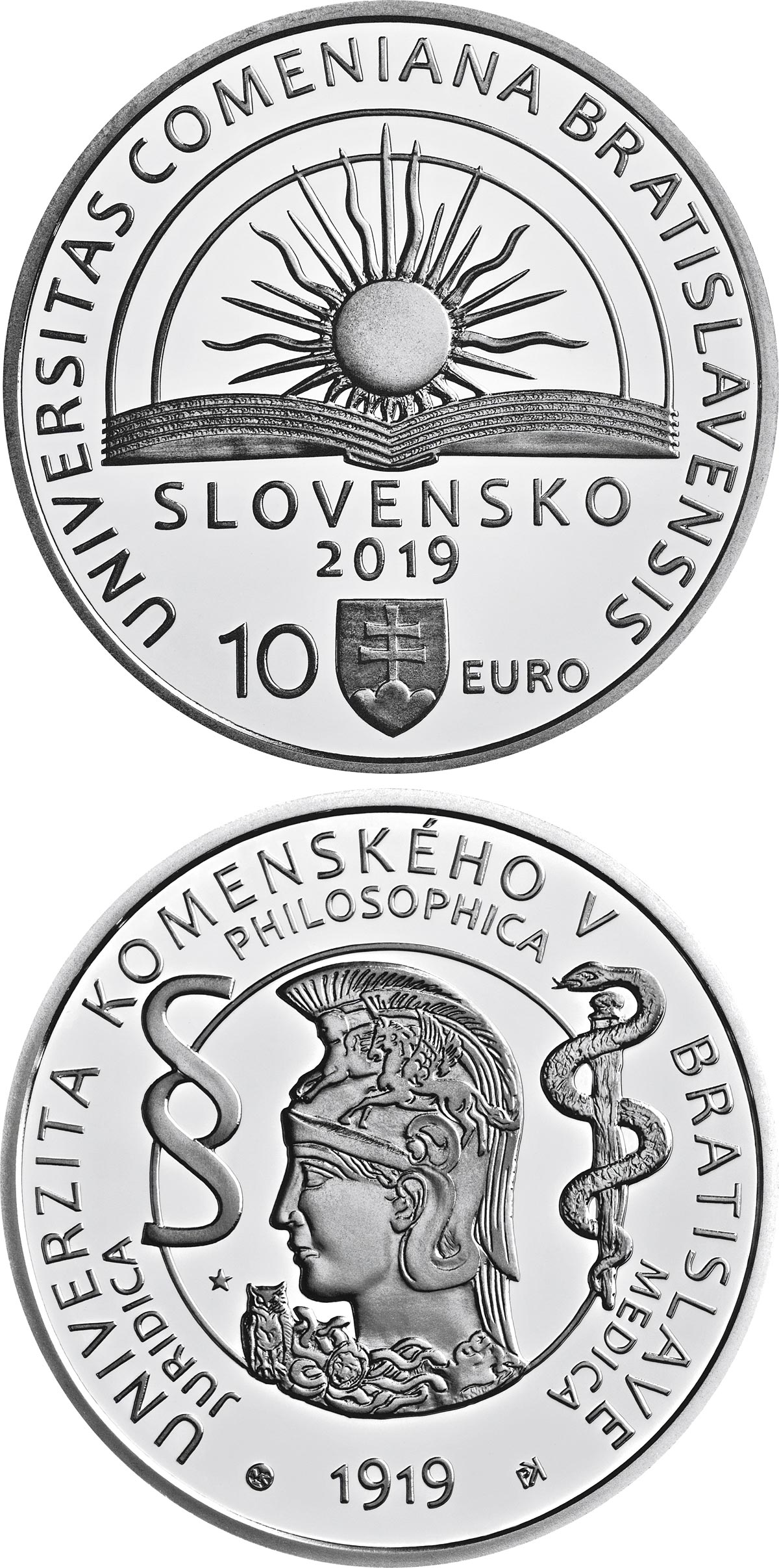Image of 10 euro coin - 100th anniversary of the establishment of Comenius University in Bratislava | Slovakia 2019.  The Silver coin is of Proof, BU quality.
