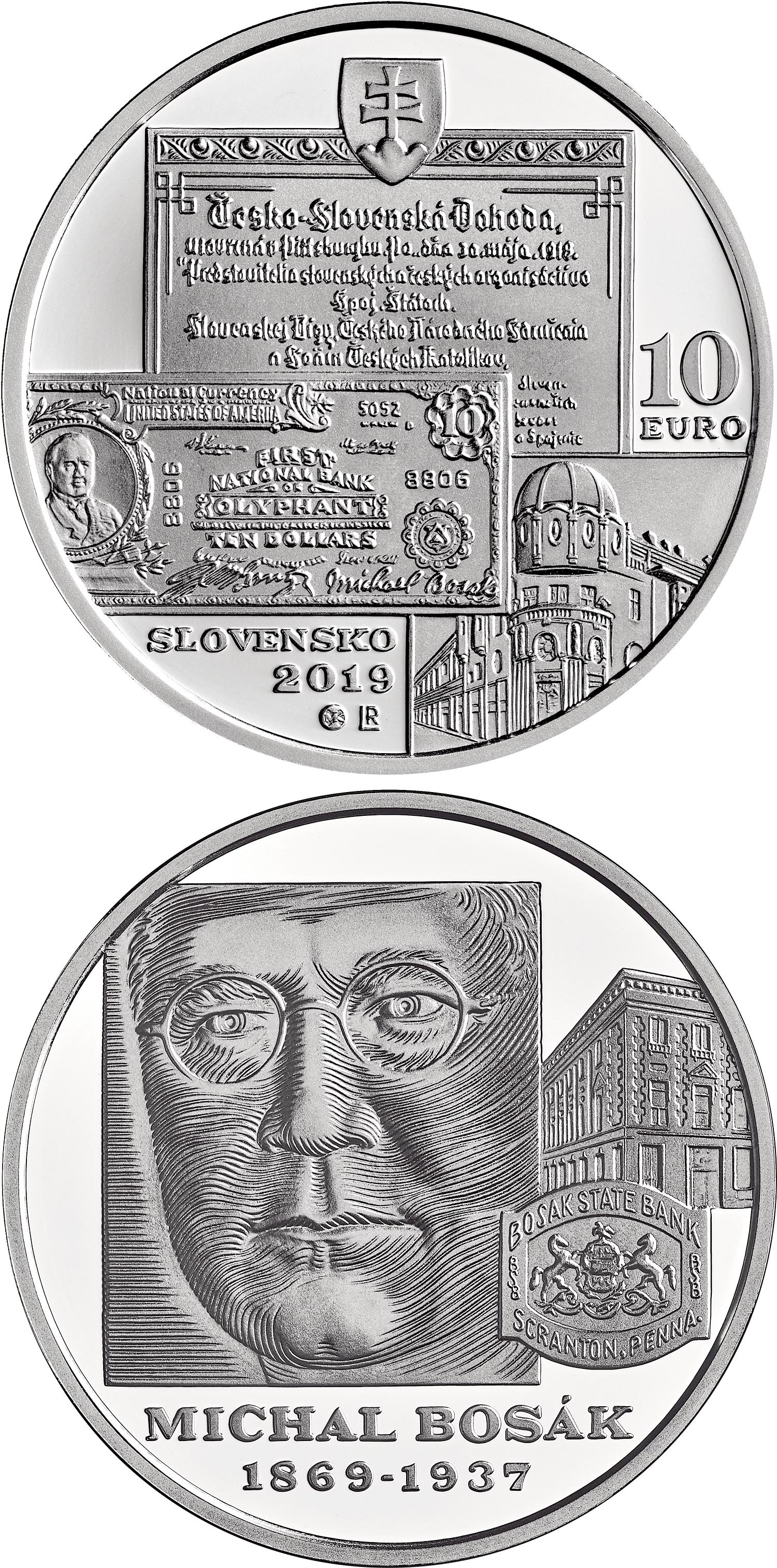 Image of 10 euro coin - 150th anniversary of the birth of Michal Bosák | Slovakia 2019.  The Silver coin is of Proof, BU quality.