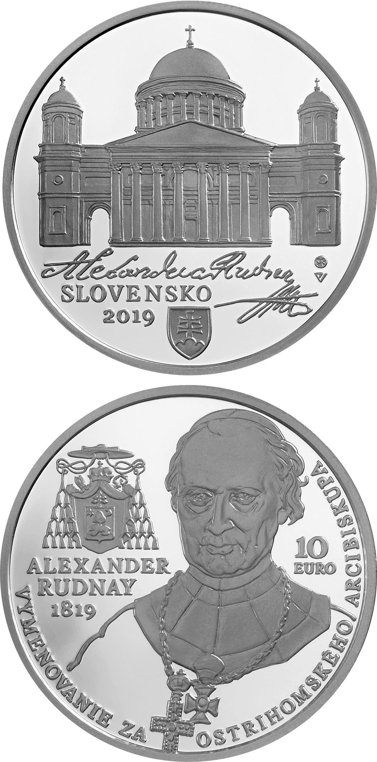Image of 10 euro coin - 200th anniversary of the appointment of Alexander Rudnay as the Archbishop of Esztergom | Slovakia 2019.  The Silver coin is of Proof, BU quality.