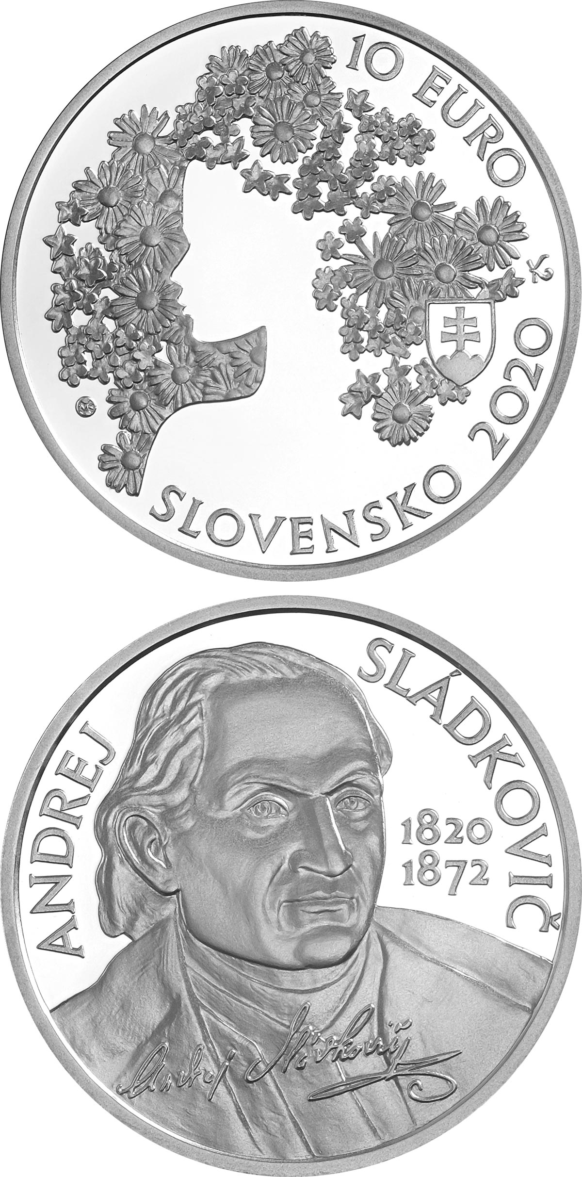 Image of 10 euro coin - 200th anniversary of the birth of Andrej Sládkovič | Slovakia 2020.  The Silver coin is of Proof, BU quality.