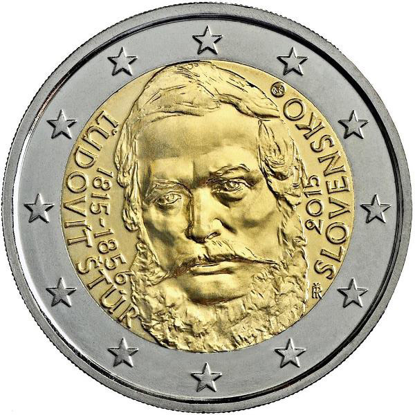 Image of 2 euro coin – 200th Anniversary of the Birth of Ľudovít Štúr | Slovakia 2015