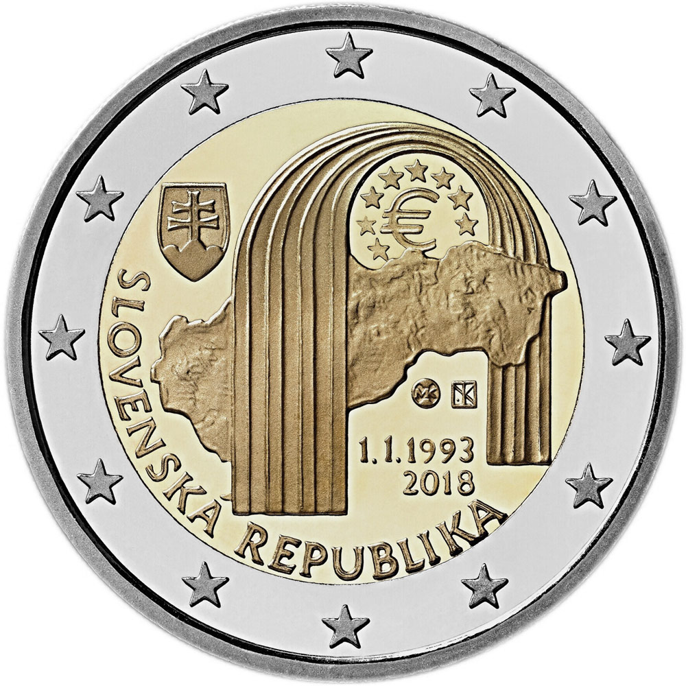 Image of 2 euro coin 25th anniversary of the establishment of the Slovak Republic | Slovakia 2018