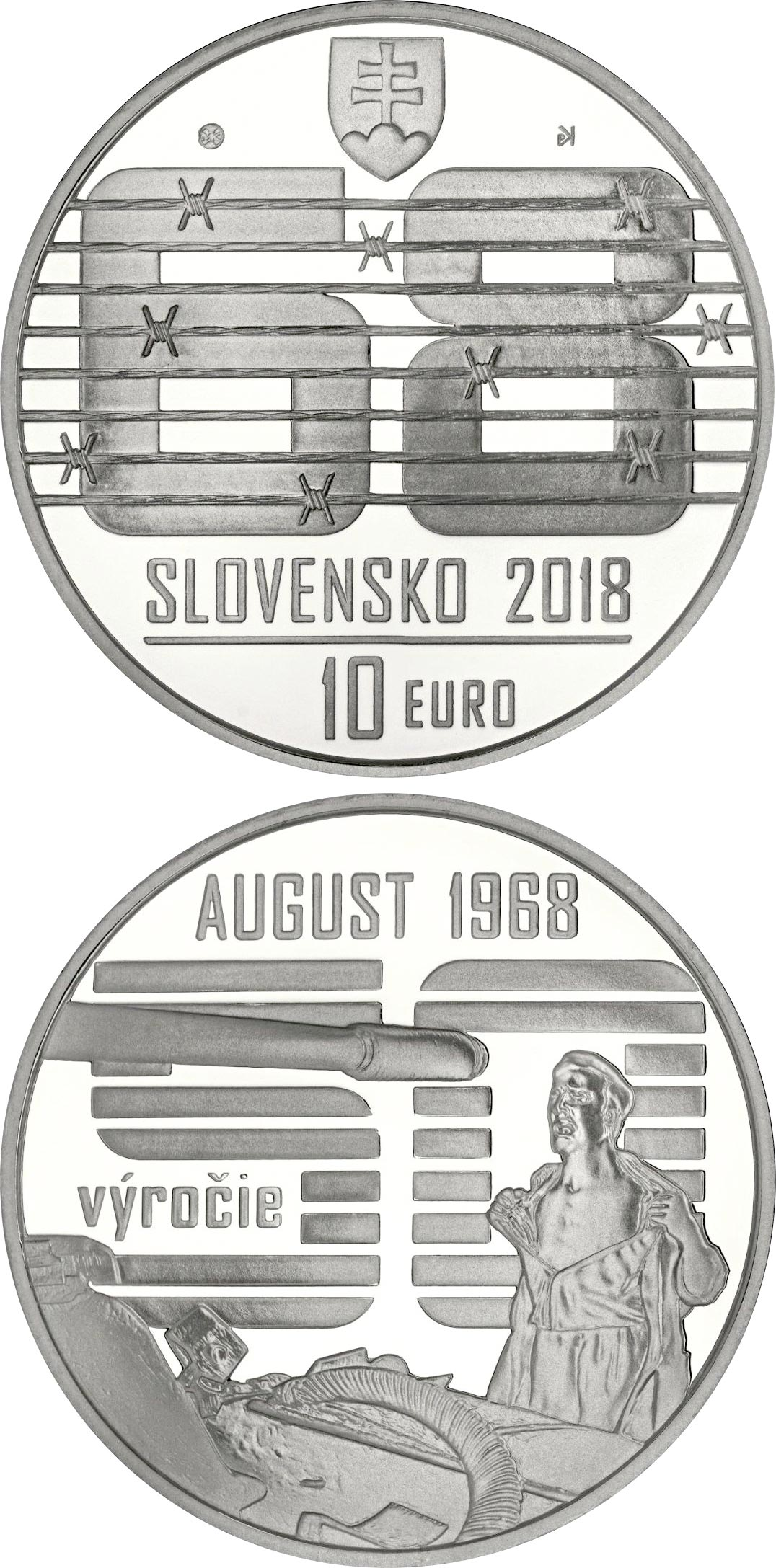 Image of Spontaneous, non-violent civic resistance to the Warsaw Pact invasion in August 1968 – 10 euro coin Slovakia 2018.  The Silver coin is of Proof, BU quality.