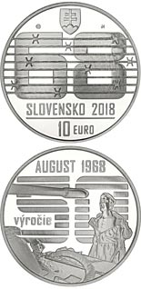 10 euro coin Spontaneous, non-violent civic resistance to the Warsaw Pact invasion in August 1968 | Slovakia 2018