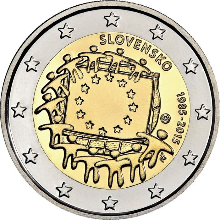 Image of 2 euro coin - The 30th anniversary of the EU flag | Slovakia 2015